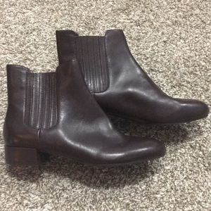 Marc Fisher Burgundy Tinted Brown Leather Booties